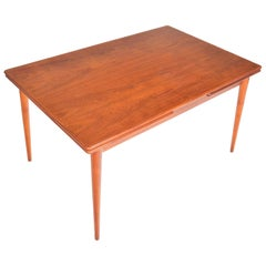 Danish Mid-Century Modern Teak Draw-Leaf Dining Table