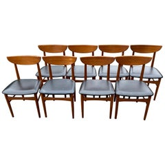 Danish Mid-Century Modern Teak Dyrlund Dining Chairs Set of Eight