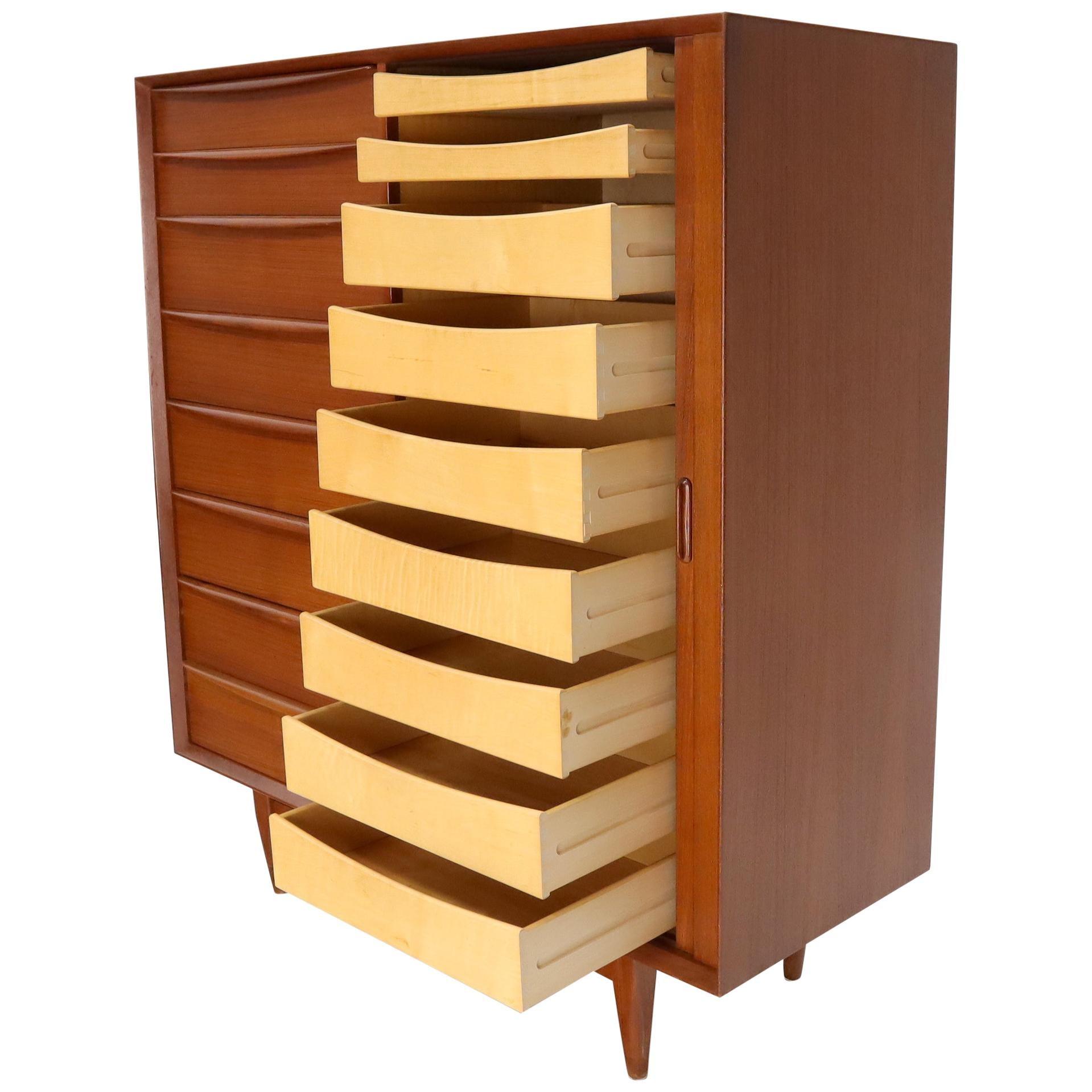Danish Mid-Century Modern Teak Highboy Dresser Side by Side by Chest Falster