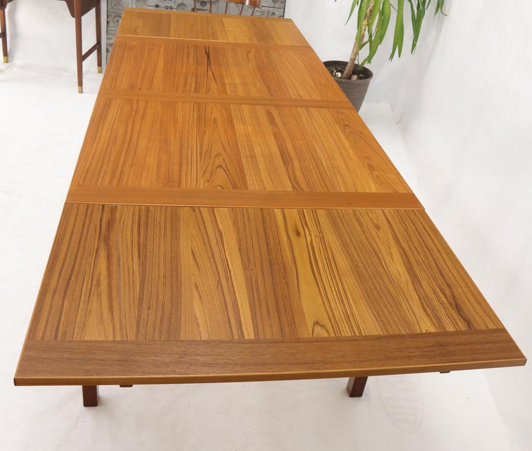 Danish Mid-Century Modern Teak Refectory Dining Table Leaves For Sale 7