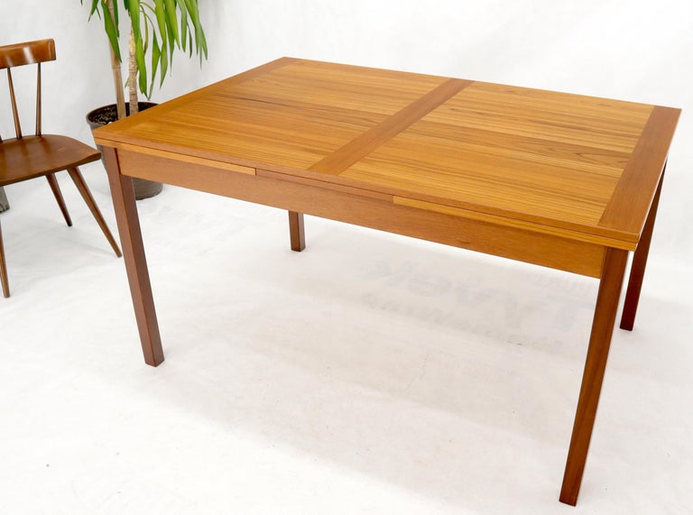 Lacquered Danish Mid-Century Modern Teak Refectory Dining Table Leaves For Sale