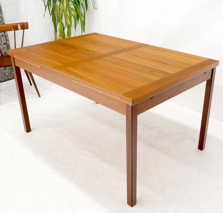Danish Mid-Century Modern Teak Refectory Dining Table Leaves In Good Condition For Sale In Rockaway, NJ