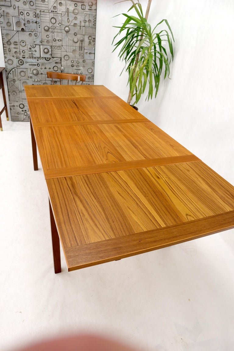 Danish Mid-Century Modern Teak Refectory Dining Table Leaves For Sale 1