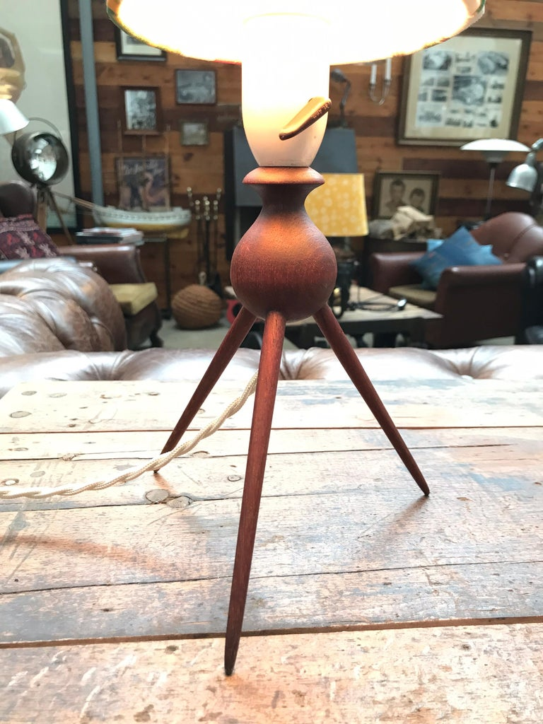 Hand-Crafted Danish Mid-Century Modern Teak Table Lamp with ArtbyMaj Lampshade For Sale