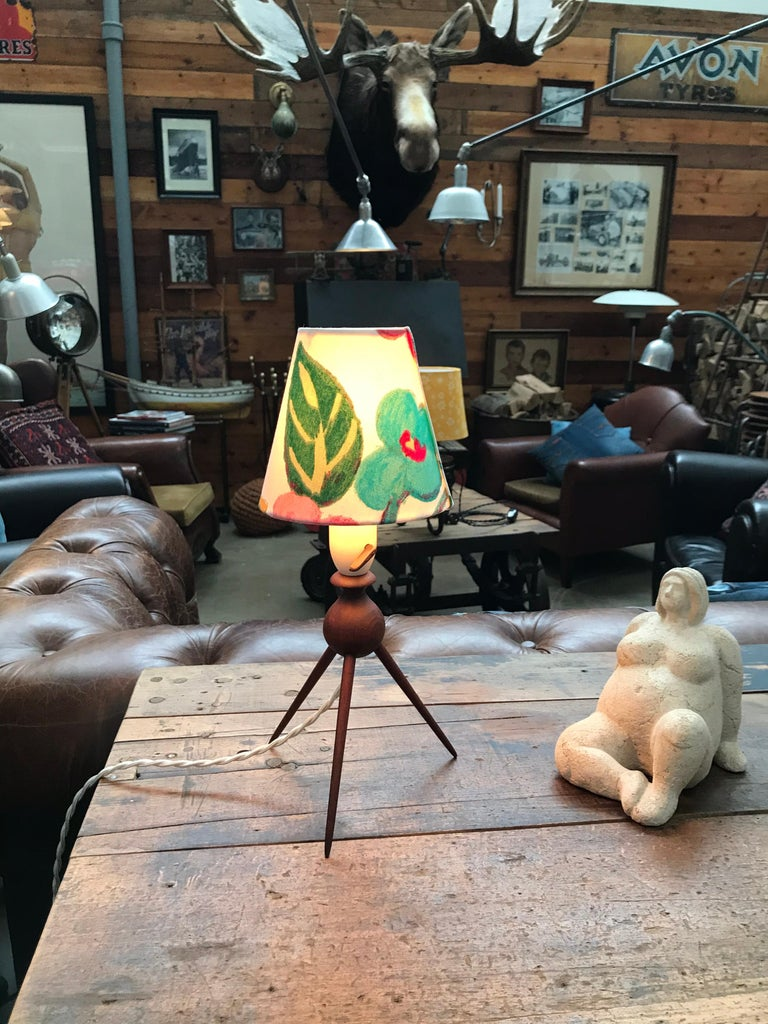 Danish Mid-Century Modern Teak Table Lamp with ArtbyMaj Lampshade In Good Condition For Sale In Søborg, DK
