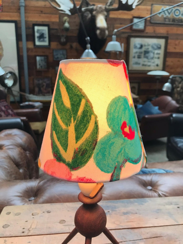 Mid-20th Century Danish Mid-Century Modern Teak Table Lamp with ArtbyMaj Lampshade For Sale