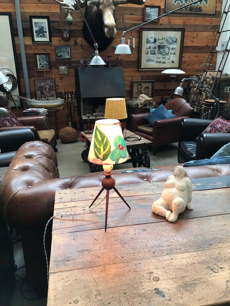 Danish Mid-Century Modern Teak Table Lamp with ArtbyMaj Lampshade For Sale 1