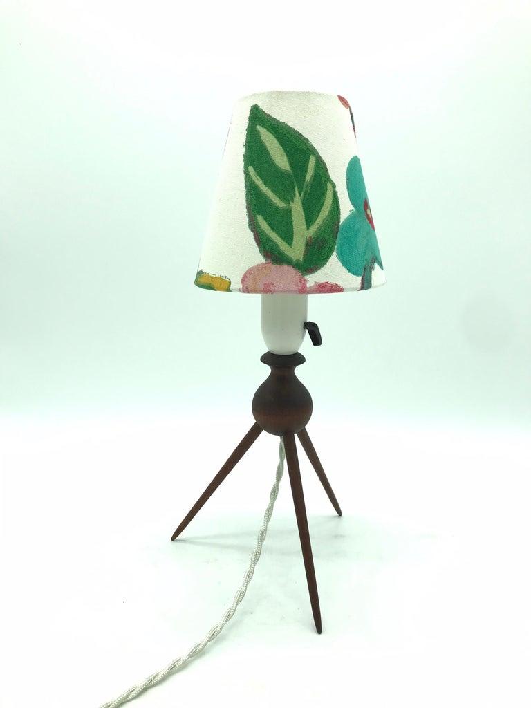 Danish Mid-Century Modern Teak Table Lamp with ArtbyMaj Lampshade For Sale 3