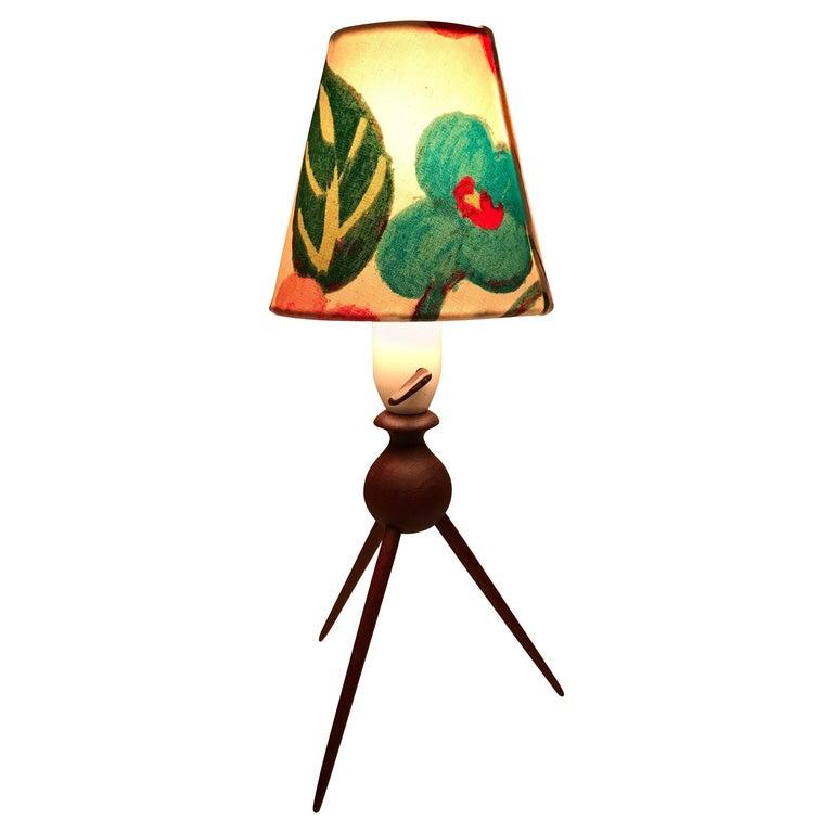 Danish Mid-Century Modern Teak Table Lamp with ArtbyMaj Lampshade For Sale