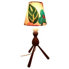 Danish Mid-Century Modern Teak Table Lamp with ArtbyMaj Lampshade