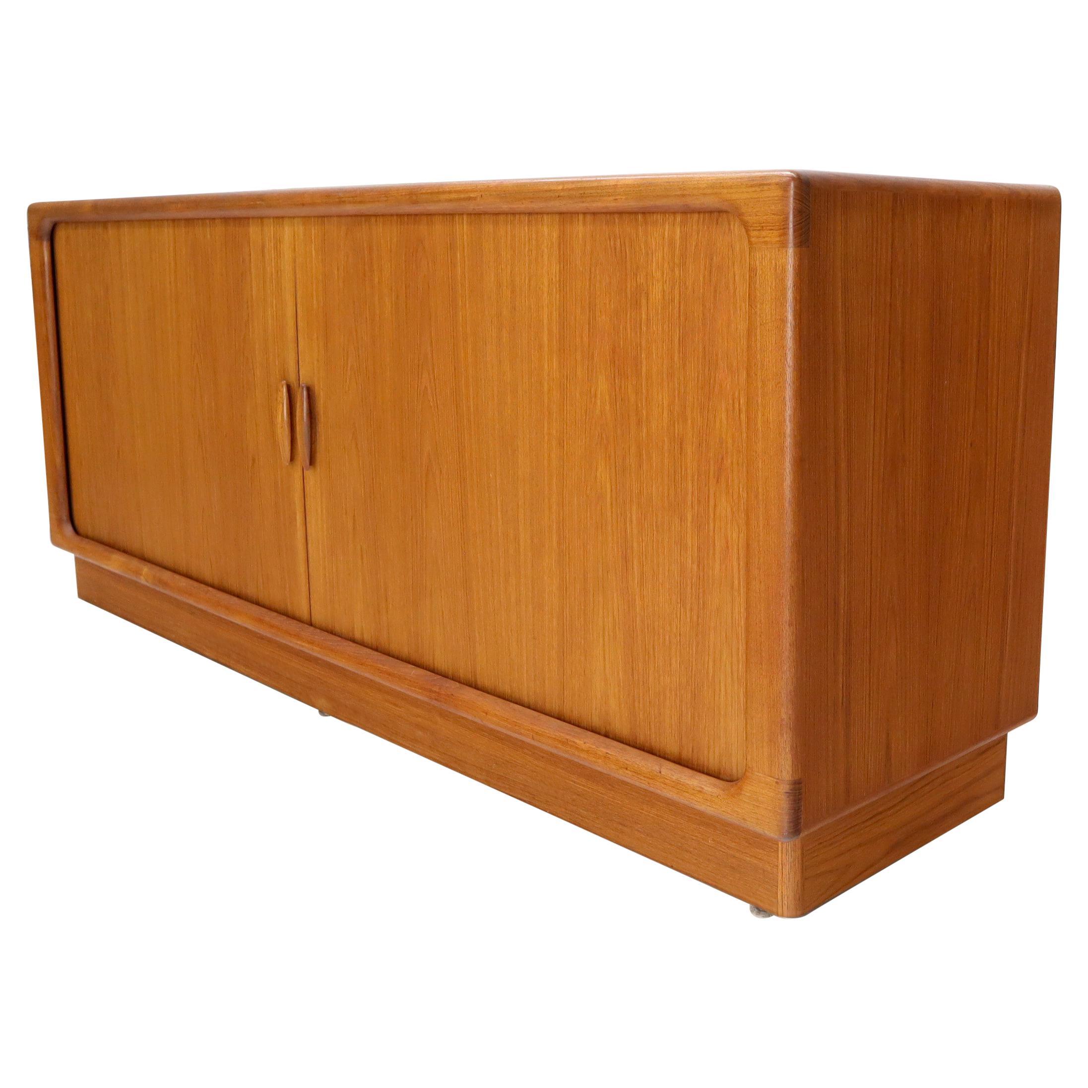 Danish Mid-Century Modern Teak Tambour Doors Long Dresser Credenza by Dyrlund