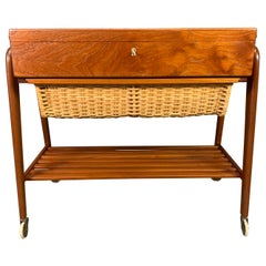 Danish Mid-Century Modern Teak Trolley, Sewing Table by Poul Dinesen