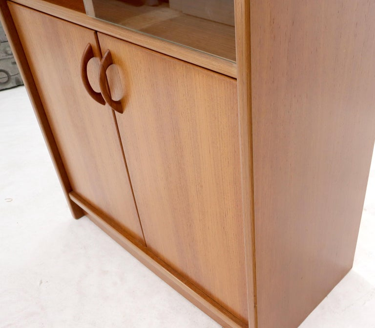 Danish Mid-Century Modern Teak Wall Unit with Glass Doors Bottom Compartments For Sale 1