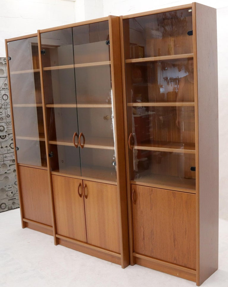 Danish Mid-Century Modern Teak Wall Unit with Glass Doors Bottom Compartments For Sale 3