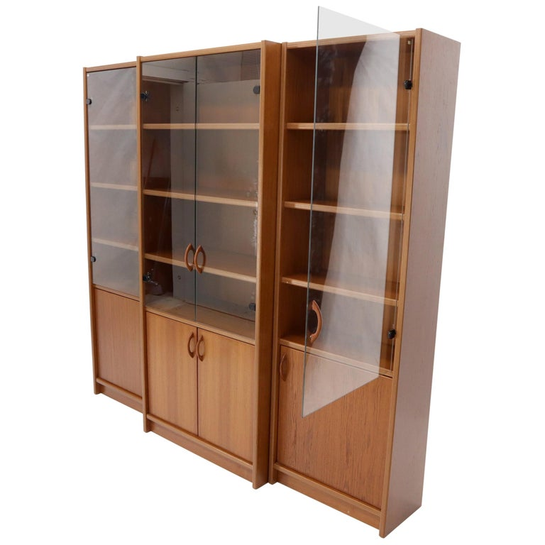 Danish Mid-Century Modern Teak Wall Unit with Glass Doors Bottom Compartments For Sale