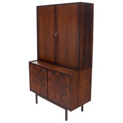 Danish Mid-Century Modern Two Part Rosewood Storage Cabinet Credenza