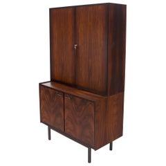 Danish Mid-Century Modern Two Part Rosewood Storage Cabinet Credenza