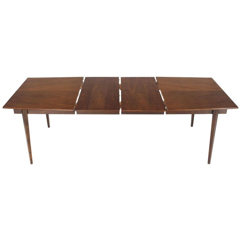 e2f887349f0c Danish Mid-Century Modern Walnut Wide Rectangle Dining Table 2 Extension  Boards For Sale