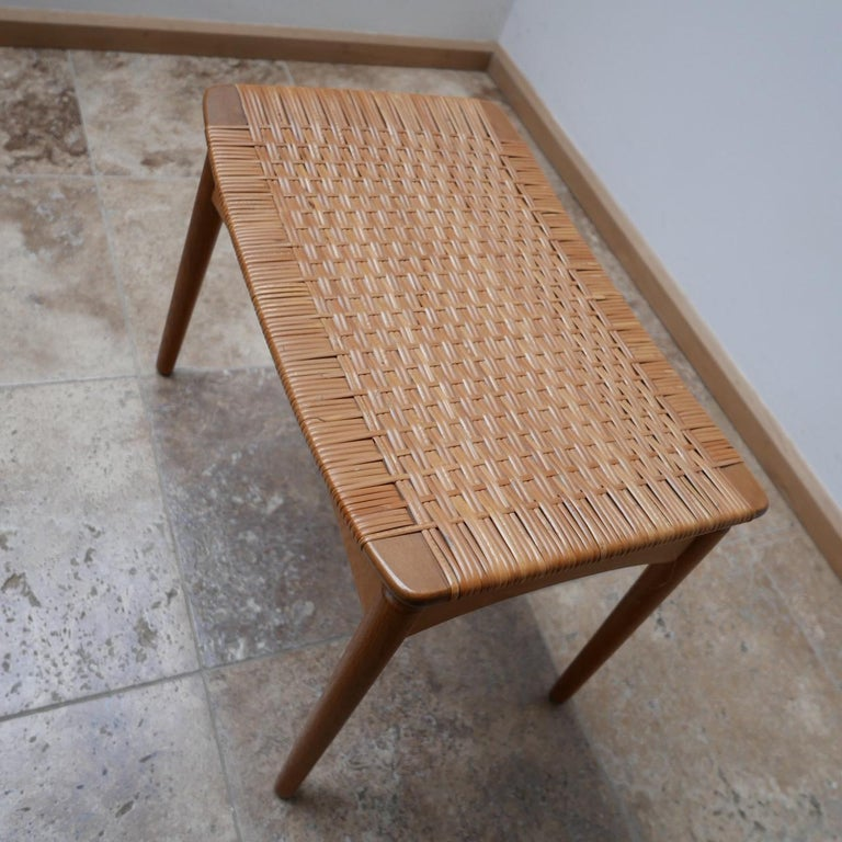 Danish Midcentury Oak and Cane Stool by Sigfred Omann for Ølholm Møbelfabrik In Excellent Condition In Surbiton, Surrey
