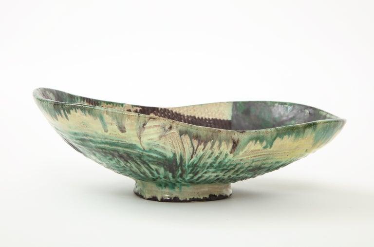 Mid-Century Modern Danish Midcentury Oblong Ceramic Bowl by Allan Ebeling, 1957 For Sale