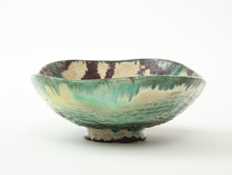 Glazed Danish Midcentury Oblong Ceramic Bowl by Allan Ebeling, 1957 For Sale