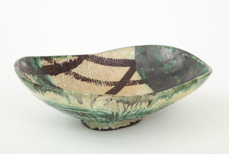 Danish Midcentury Oblong Ceramic Bowl by Allan Ebeling, 1957 In Excellent Condition For Sale In New York City, NY