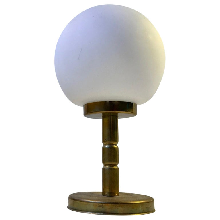 Danish Midcentury Opaline Glass and Brass Table Lamp by ABO, 1970s For Sale