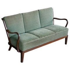 Danish Midcentury Open Arm Spindle Back Sofa Model 95 by Slagelse