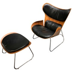 Danish Midcentury Ply and Leather Lounge Chair