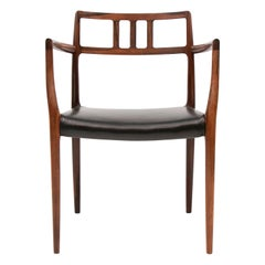 Danish Midcentury Rosewood and Leather Armchair Model 64 by Niels O. Møller