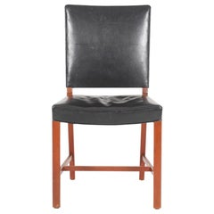 Danish Midcentury Side Chair in Patinated Leather and Teak, 1950s