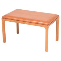 Danish Midcentury Stool in Patinated Leather and Oak by Kai Kristiansen