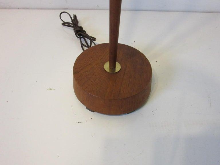 Danish Midcentury Teak / Brass Floor Lamp In Good Condition In Cincinnati, OH