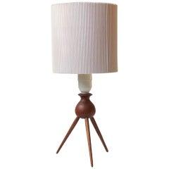 Danish Midcentury Teak Tripod Table Lamp, 1960s