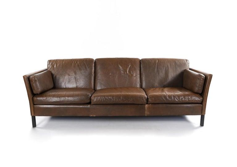 Danish Midcentury Three-Seat Leather Sofa by Mogens Hansen