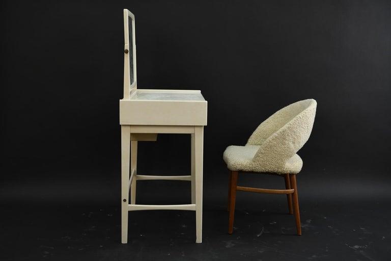 Wood Danish Midcentury Vanity Set For Sale