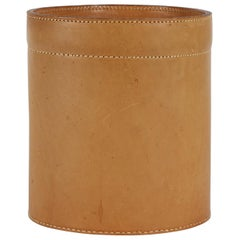 Danish Midcentury Waste Bin in Genuine Cognac Leather, 1970s