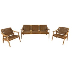 Danish Midcentury Wicker Lounge Suite with Tilt Back Armchairs