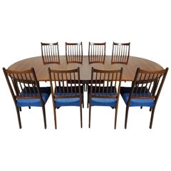 Danish Midcentury 10-Seat Extending Rosewood Dining Table and Eight Chairs