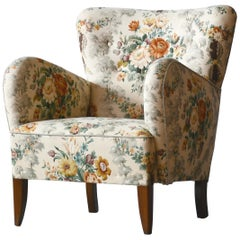 Danish Midcentury 1940s Flemming Lassen Style Lounge Chair in Floral Fabric