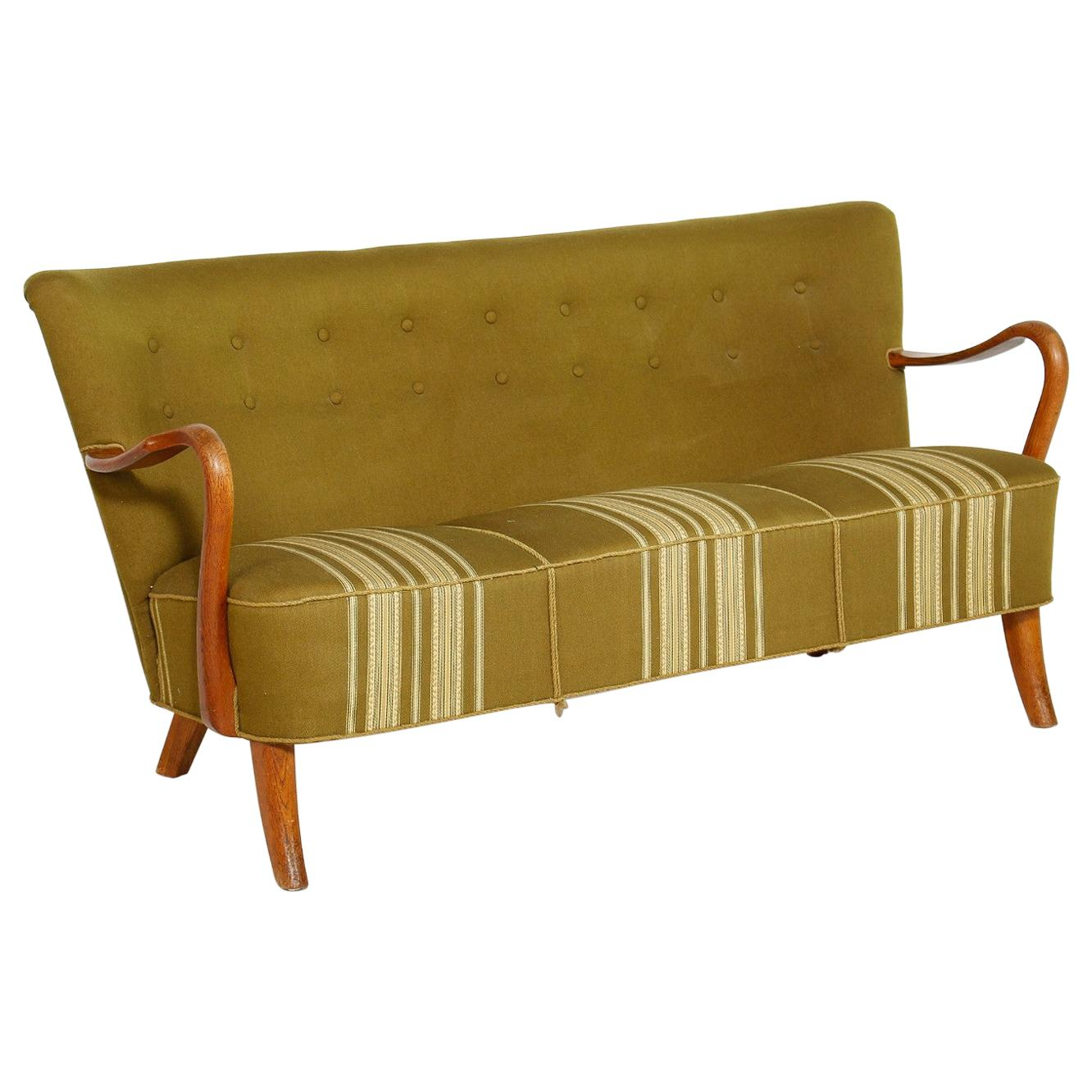 Danish Midcentury 1940s Sofa with Open Armrests by Alfred Christensen
