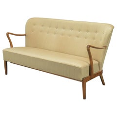 Danish Midcentury 1940s Sofa with Open Armrests Style of Alfred Christensen