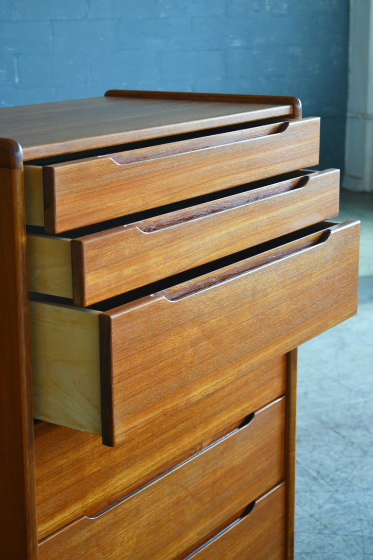 Danish Midcentury 1960s Tall Teak Dresser or Chest of Drawers In Good Condition For Sale In Bridgeport, CT