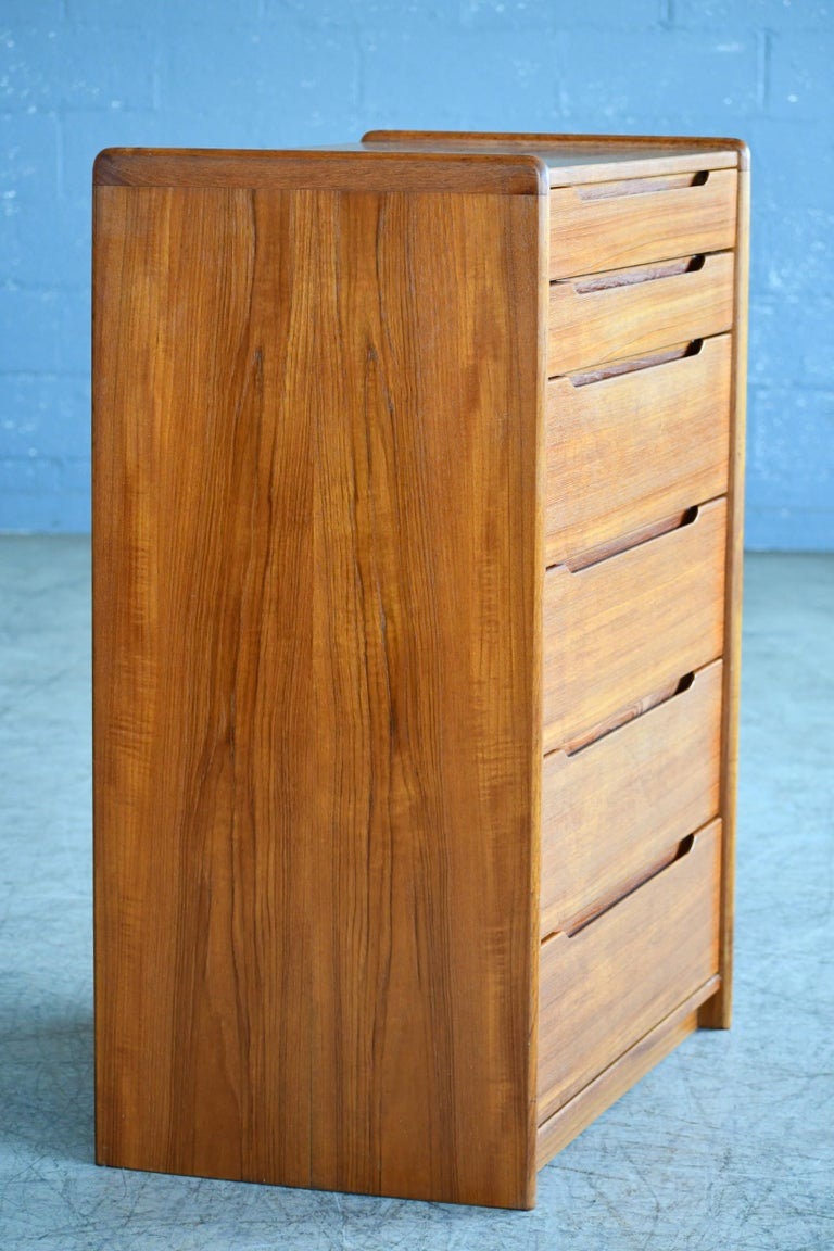 Mid-20th Century Danish Midcentury 1960s Tall Teak Dresser or Chest of Drawers For Sale