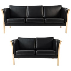 Danish Midcentury Beech and Leather Sofa and Loveseat