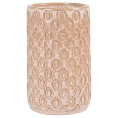 Danish Midcentury Beige Ceramic Vase Budding Style by Eva Sjøgren for L. Hjorth