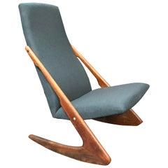 Danish Midcentury 'Boomerang' Rocking Chair by Mogens Kold