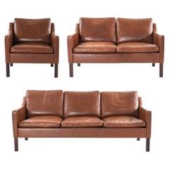 Danish Midcentury Borge Mogensen Style Three-Piece Sofa Suite