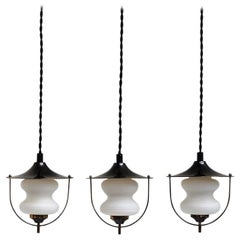 Danish Midcentury Brass Pendants with Opal Glass Shades from Lyfa, 1940s