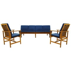 Danish Midcentury Børge Mogensen 4 Seater Oak Bench Sofa and Two Armchairs